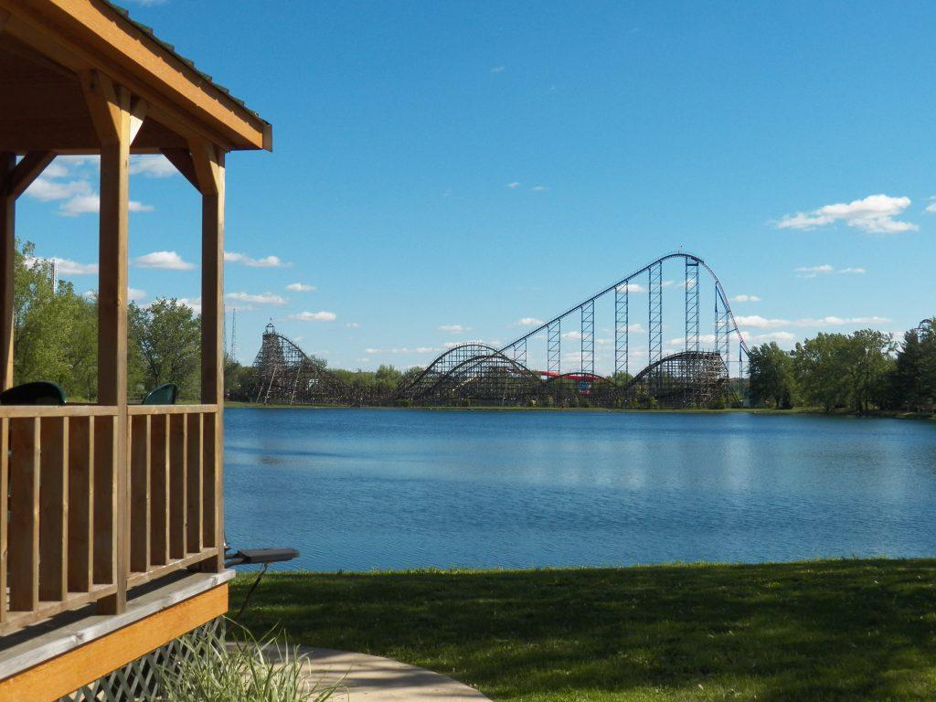 View of Darien Lake theme park across the lake
