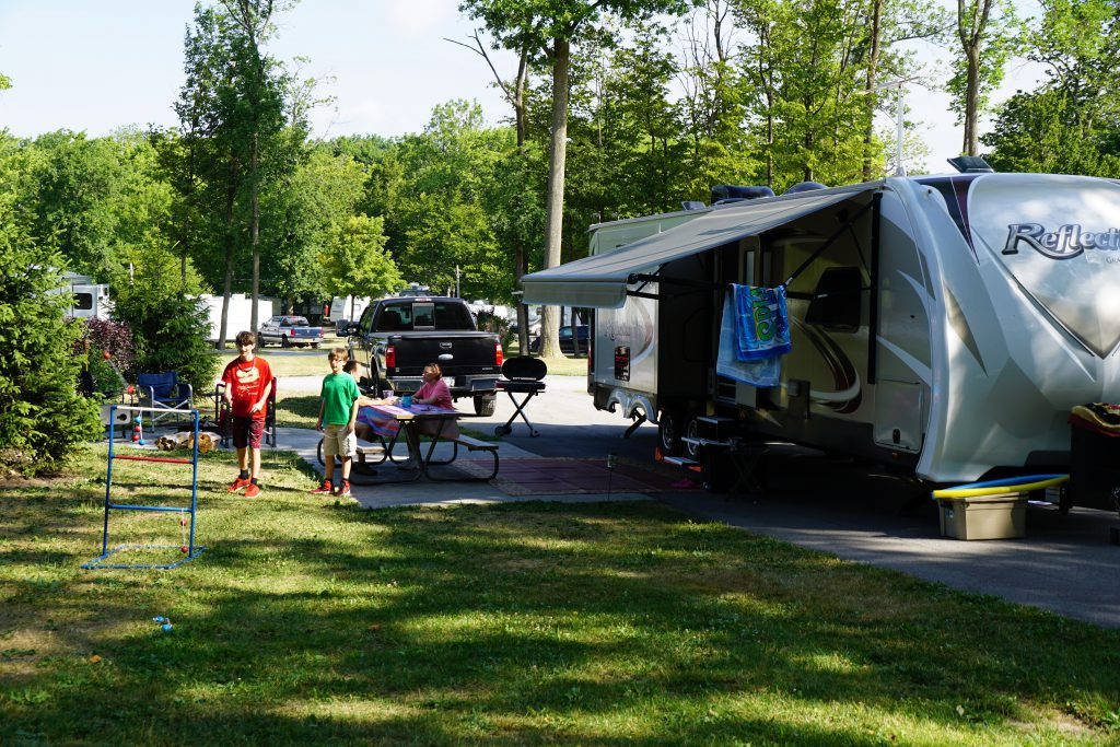 RV parked at RV camp